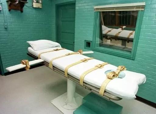 Imagen de una camilla para ejecuciones en la Unidad de Huntsville, una prisión del Departamento de Justicia Criminal de Texas, el 29 de febrero de 2000 (AFP | Paul Buck)