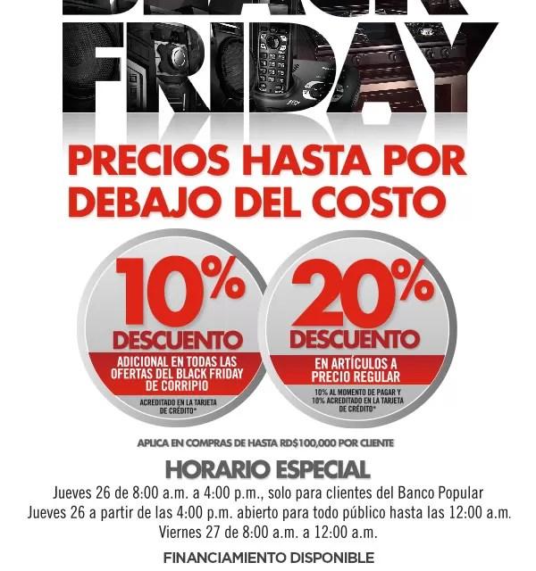 Las ofertas de Distribuidora Corripio y el Banco Popular para el viernes negro