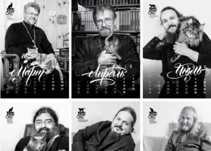 Sacerdotes rusos posan en un calendario con sus gatos