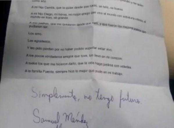 Samuel Mendez carta