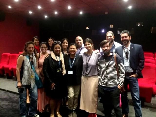 La delegación dominicana que asistió a la proyección de Noelí en los Países, en el Mercado del Filme del Festival de Cannes.