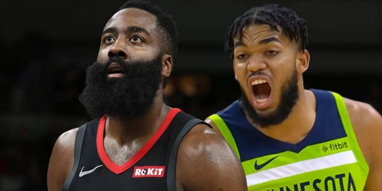 Harden le gana el duelo al dominicano Towns en la NBA