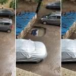 VIDEO: Un auto estacionado se hunde por completo en el asfalto en cuestión de segundos