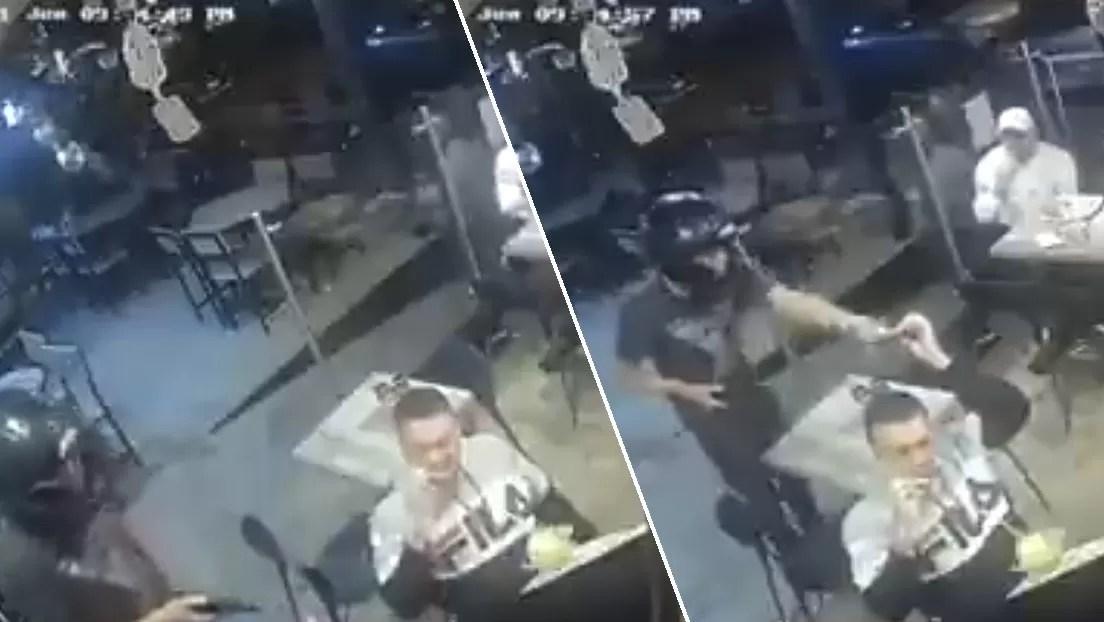 Video: Un hombre no deja de comer durante robo a mano armada en restaurante