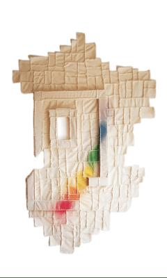 La Peinture en Patchwork, Fragment no 650 - 1994 tissu (205 x 256 cm) 2 fenêtres châssis (46 x 38 cm)