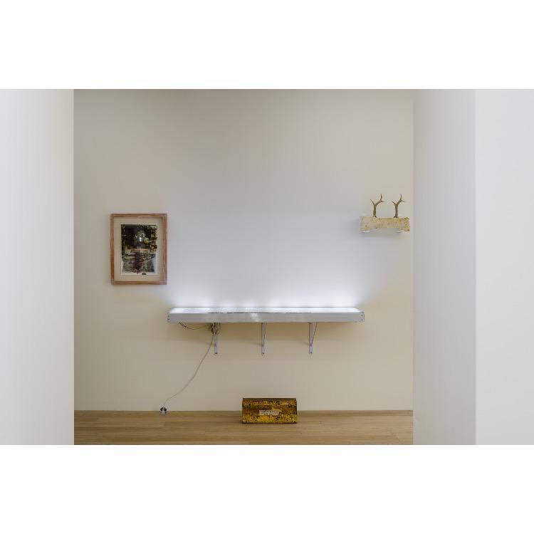 """Vue de l'exposition """"Nomos - Christian Paraschiv"""" avec de gauche à droite : «Quand on est roumain, on est français», 1999-2002, «La Peau/Le Corps, Bio-Art», 2007, «La Blessure», 2018. Photographie : © Grégory Copitet - Enseigne des Oudin"""
