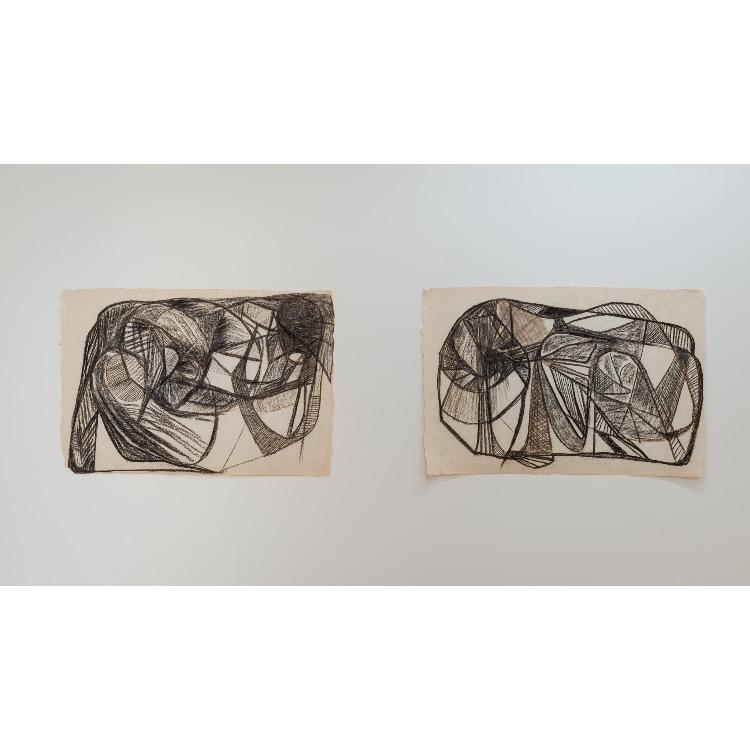Vue de l'exposition de Marie Chamant «Javelles – Jachères – Polygraphie», avec: «Monde», 1971. Photographie: © Grégory Copitet – Enseigne des Oudin