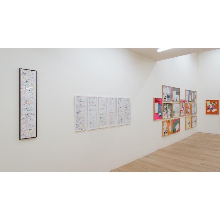 Vue de l'exposition de Marie Chamant «Javelles – Jachères – Polygraphie», avec de droite à gauche: «Prologue Saint-Jean», 2018, «Le temps du plastique», 2018, «La parole aux pierres», 2016, «Les morts de la rue», 2018, «Invitation au voyage», 2017, «Onde Saint-Pol-Roux», 2018, «Pâques à New York», 2016. Photographie: © Grégory Copitet – Enseigne des Oudin