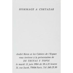 Carton d'invitation, Hommage à Cortazar, galerie Jacob, Paris le 11 juin 1984.