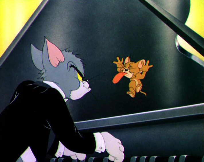 "Photo de Tom et Jerry au piano pour l'article ""Bien Choisir Son Clavier"""