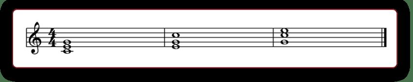 """Construction d'un accord de Do Majeur sous ses trois formes sur une partition pour l'article """"Composer Un Accompagnement : Partie 2 : Développer Au-Delà Des Accords"""""""
