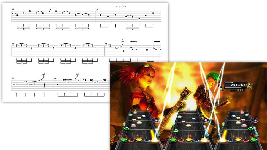 """Image d'une tablature et du jeu Guitar Hero pour l'article """"Pédagogie 2.0 : Ma Vision De L'Éducation"""""""