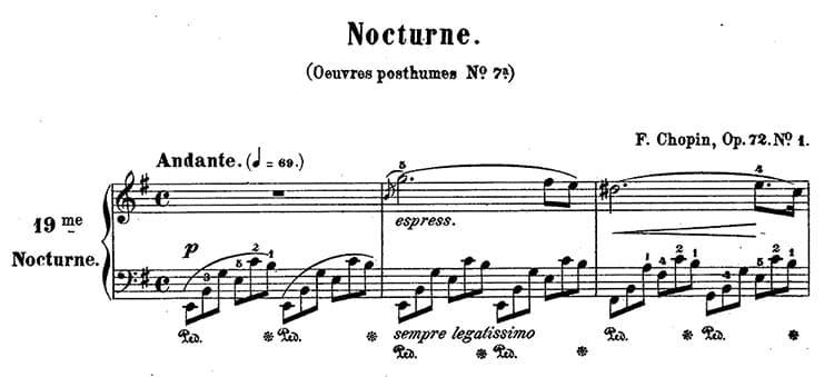 """Extrait du début de la Nocturne Op.72 N°1 de Chopin pour l'article """"Armure et Tonalité : Le Guide Complet"""""""