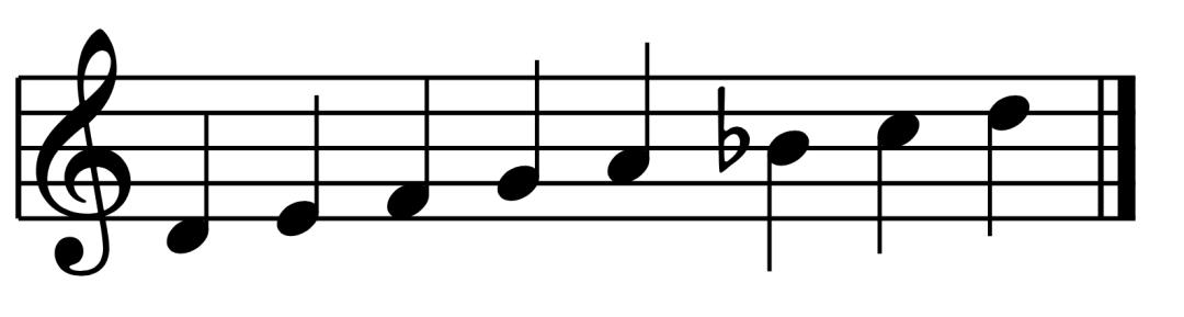 """Gamme de Ré mineur mélodique ascendante pour l'article """"Le mode mineur, 3ème partie : la gamme mineure mélodique"""""""