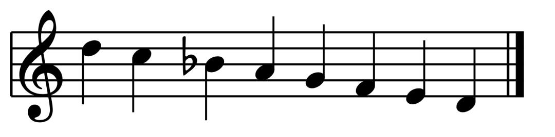 """Gamme de Ré mineur mélodique descendante pour l'article """"Le mode mineur, 3ème partie : la gamme mineure mélodique"""""""