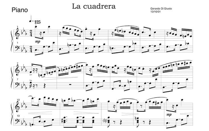"""Partition de La Cuadrera de Gerardo Di Giusto pour l'article """"Les Notes De Musique Sur La Portée"""""""