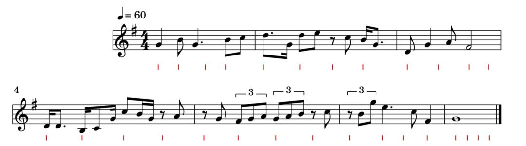 """Exercice de rythme en binaire pour l'article """"Rythme Et Solfège"""""""