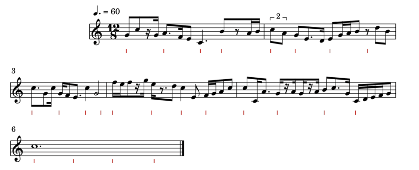 """Exercice de rythme en ternaire pour l'article """"Rythme Et Solfège"""""""