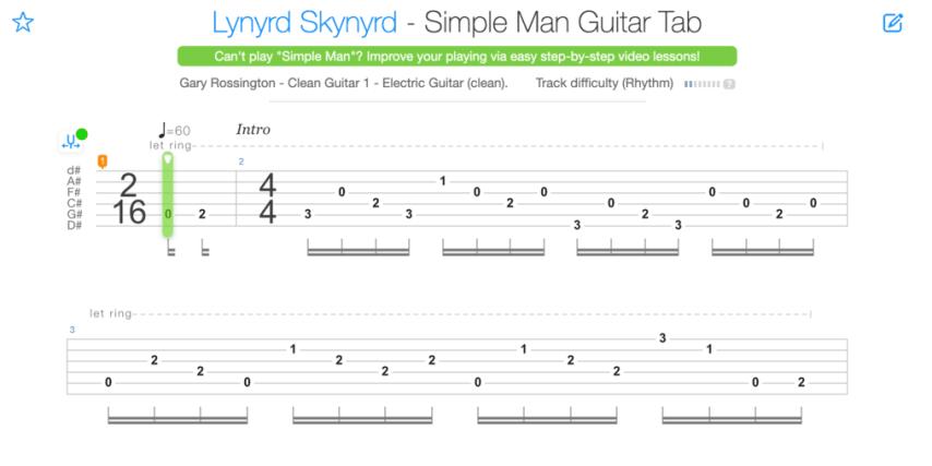 "Tablature de Simple Man de Lynyrd Skynyrd pour l'article ""Apprendre À Jouer De La Guitare Seul"""
