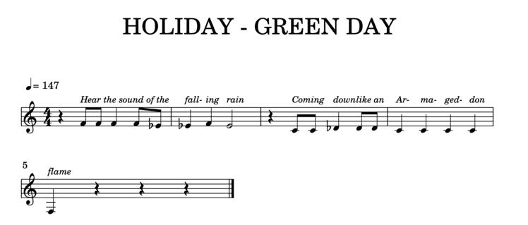 """Mélodie de Holiday de Green Day en Fa mineur pour l'article """"3 Exercices Pour s'Entraîner À La Dictée Musicale"""""""
