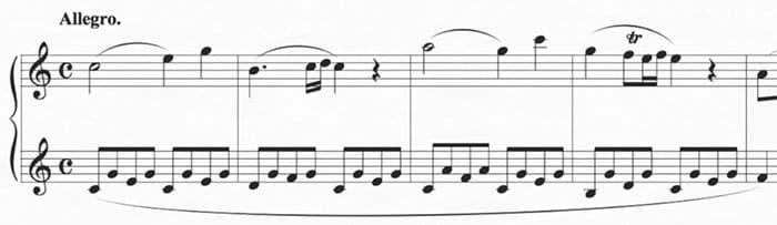 """Début de la Sonate n°15 de Mozart au piano pour l'article """"Apprendre Le Piano Sans Solfège"""""""