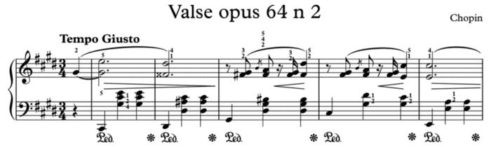 """Exemple d'une pédale représentée par Ped puis une étoile pour l'article """"Les Pédales Du Piano"""""""