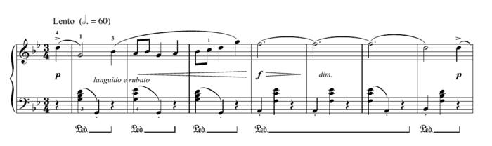 """Exemple d'une pédale représentée par Ped puis un trait pour l'article """"Les Pédales Du Piano"""""""
