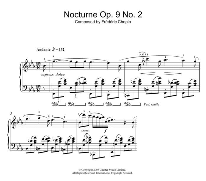 """Exemple de la Nocturne n°2 de Chopin pour l'article """"La Liaison En Musique"""""""