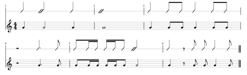 """Remplissage d'une mesure à 4 temps sous différentes formes pour l'article """"La Liaison En Musique"""""""