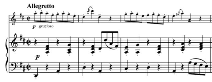 """Extrait de la Gavotte de François Joseph Gossec pour l'article """"Le Staccato Musique Suspendue"""""""