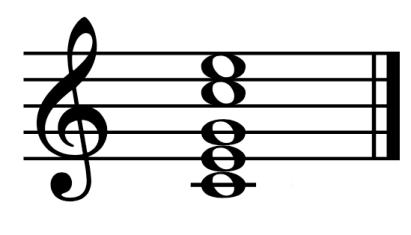 """Exemple d'un accord de Do Majeur non arpégé pour l'article """"Arpège Piano"""""""