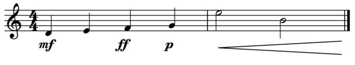 """Exemple de nuances fixes et progressives sur 2 mesures pour l'article """"Les Nuances en musique"""""""