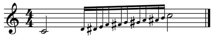 """Glissando représenté sur une échelle chromatique pour l'article """"Les types d'abréviation musicale"""""""