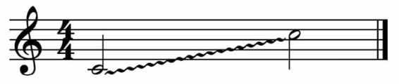 """Abréviation d'un glissando pour un port de voix pour l'article """"Les types d'abréviation musicale"""""""