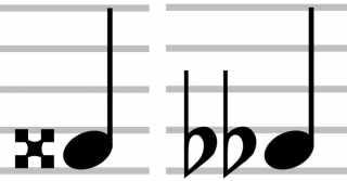 """Image d'un double dièse et d'un double bémol pour l'article """"le double dièse"""""""