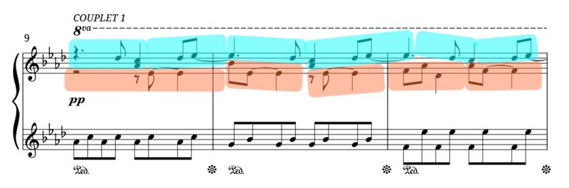 """Juxtaposition de 2 voies mélodiques avec silences décalés pour l'article """"les silences en musique"""""""