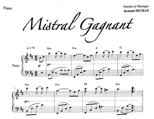 """Extrait de Mistral Gagnant pour l'article """"Harmonisation Gamme Mineur"""""""
