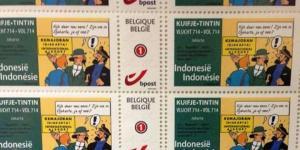 Prangko Tintin Belgia bertema Komodo dan Kemayoran Indonesia