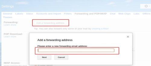 Add a forwarding adress