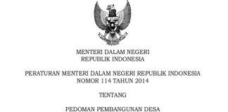 Permendagri Nomor 114 Tahun 2014 Tentang Pedoman Pembangunan Desa