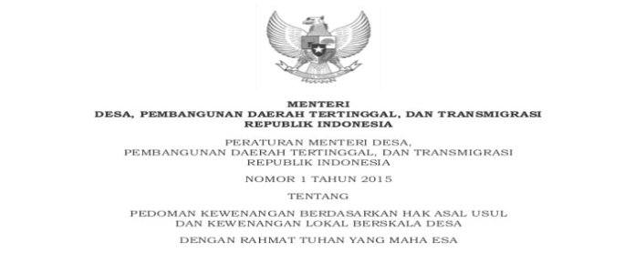 Peraturan Menteri Desa No. 1 Tahun 2015 tentang Pedoman Kewenangan Berdasarkan Hak Asal Usul dan Kewenangan Lokal Berskala Desa