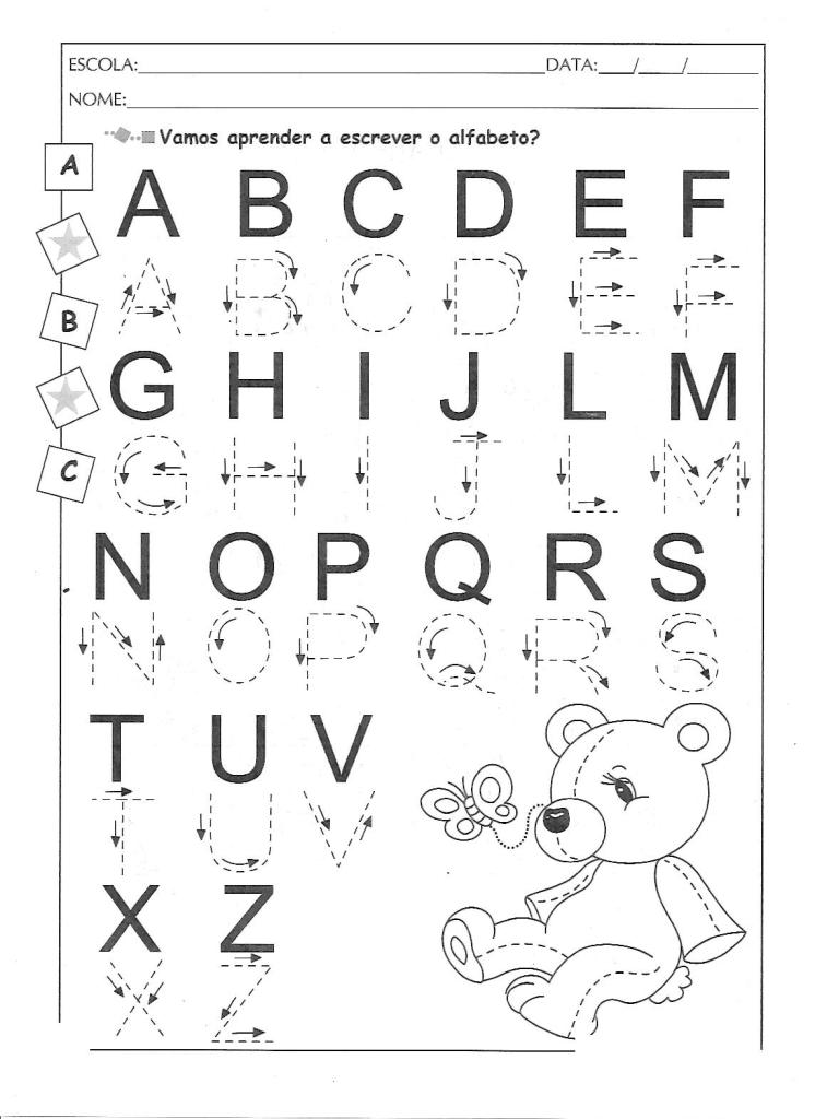 aprender a escrever o alfabeto