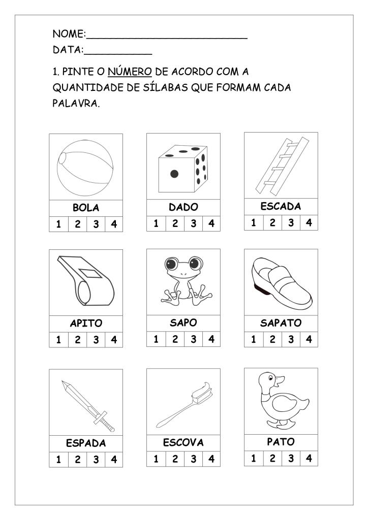 atividades primeiro ano com silabas simples