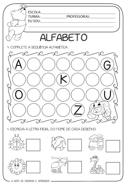 complete a sequencia do alfabeto