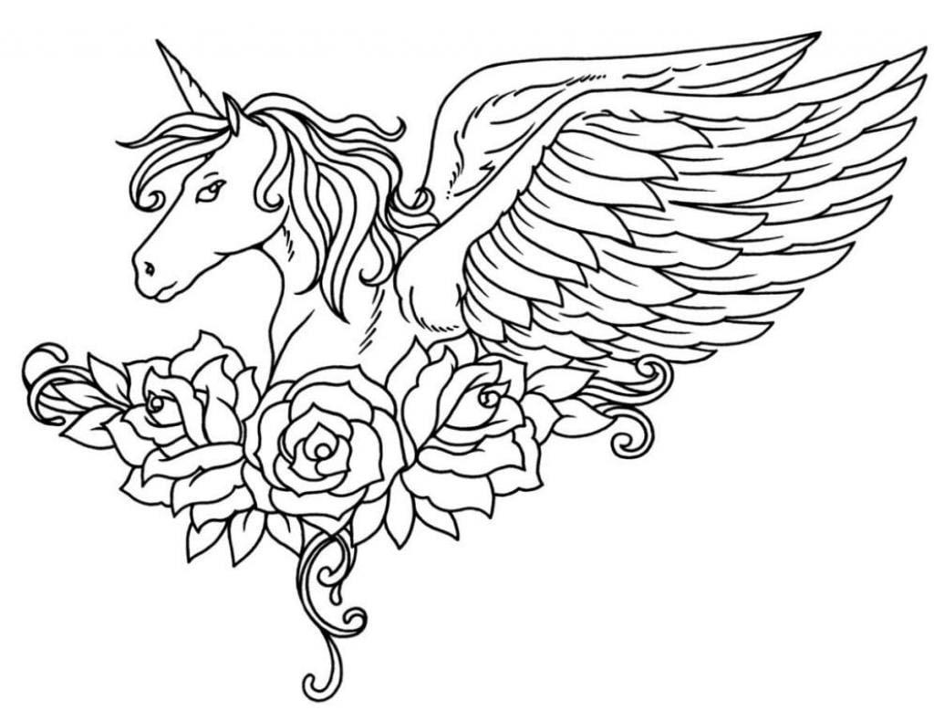 unicornio alado para colorir