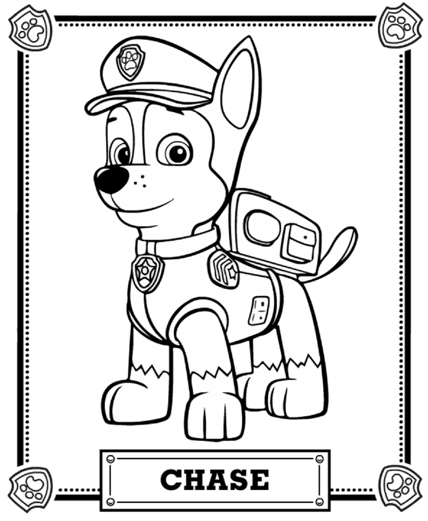 desenho para colorir patrulha canina chase