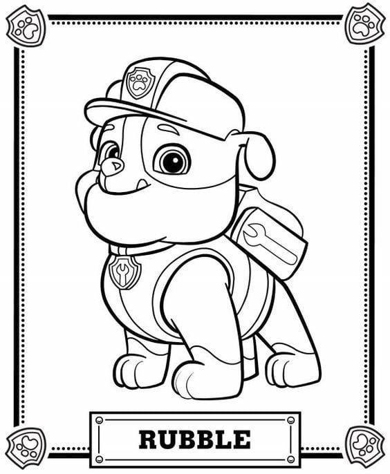 desenho para colorir patrulha canina rubble