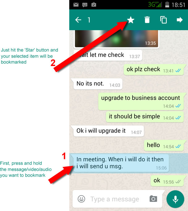 What does the star mean on whatsapp