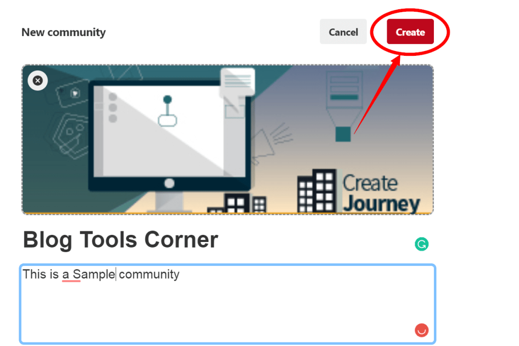 final step to creating a pinterest community