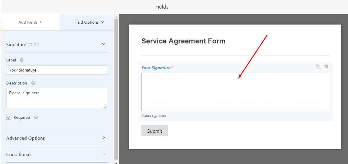 form signature element